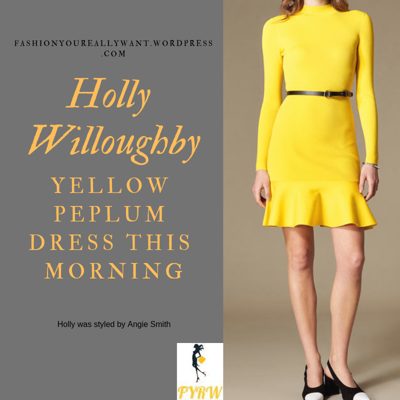 Where to get Holly Willoughby this Morning outfit today yellow knit peplum dress nude court shoes blog January 2019