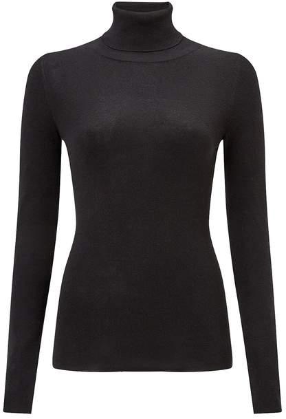 jigsaw silk cotton polo neck sweater black