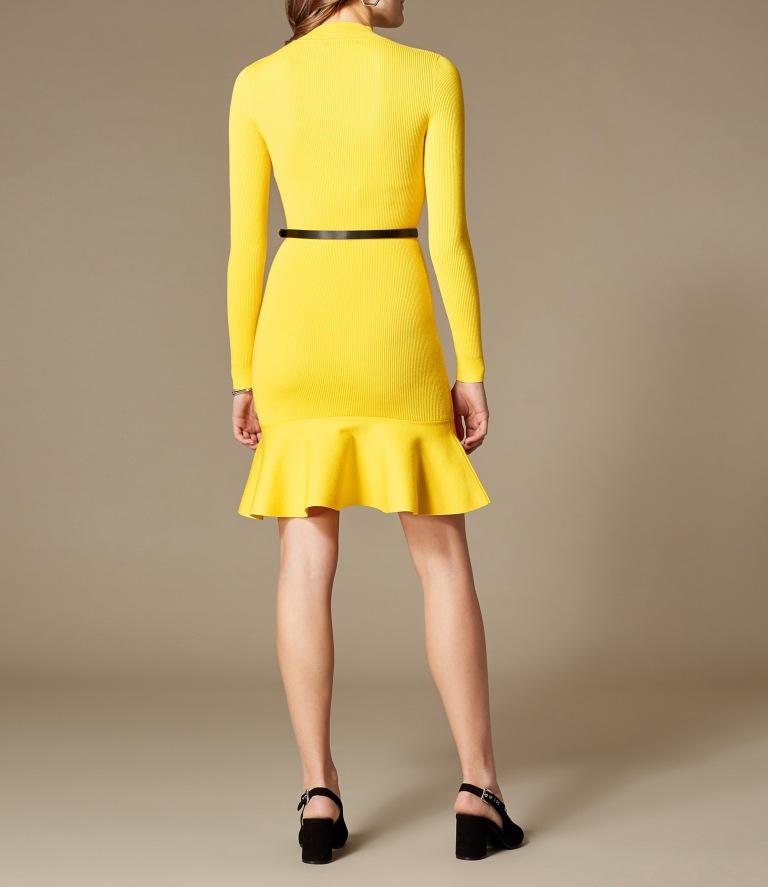 karen millen peplum knit belted dress back view