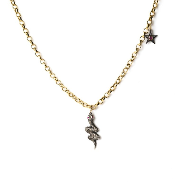 kirstie le marquediamond snake and star on gold chain
