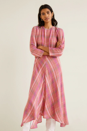 mango check pattern midi dress v3