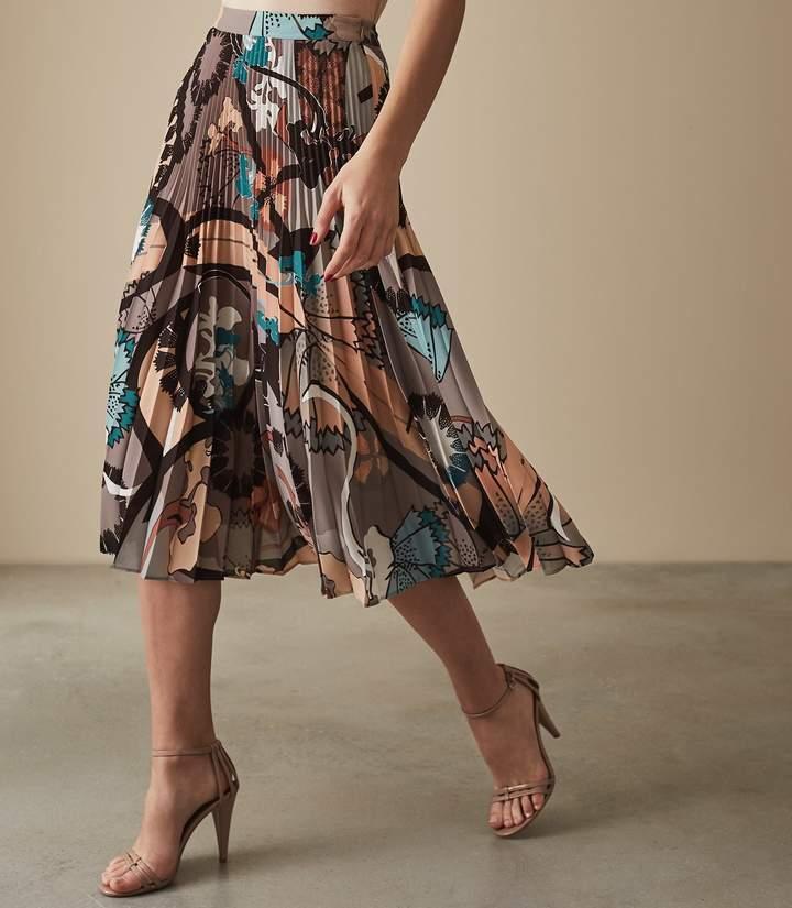 reiss lolita - pleated midi skirt in multi