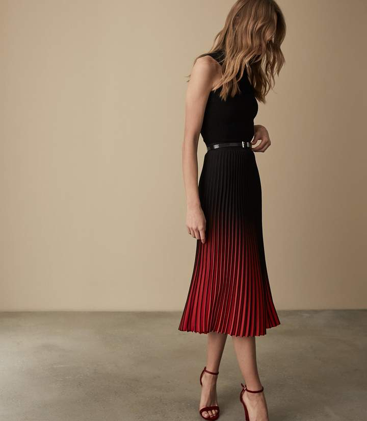 reiss marlie - ombre pleated midi skirt in red black