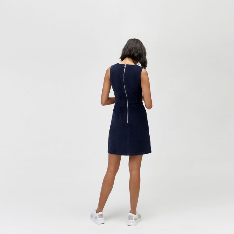 warehouse - cord shift dress back view