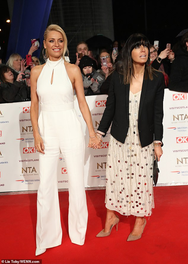 where to get claudia winkleman white sequin jumpsuit nta 2019 photo lia toby wenn com
