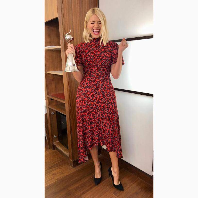 where to get holly willoughbt this morning outfit today red and black floral dress black court shoes januaey 2019 photo holly willoughby