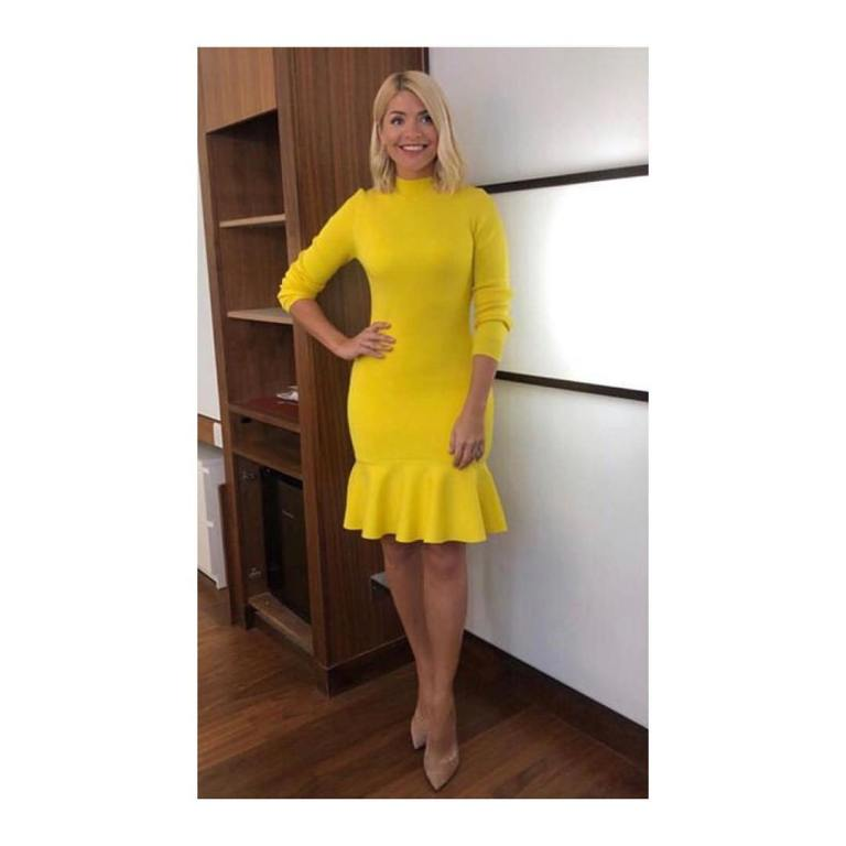 where to get holly willoughby this morning dress today yellow peplum dress nude court shoes january 2019 photo angie smith
