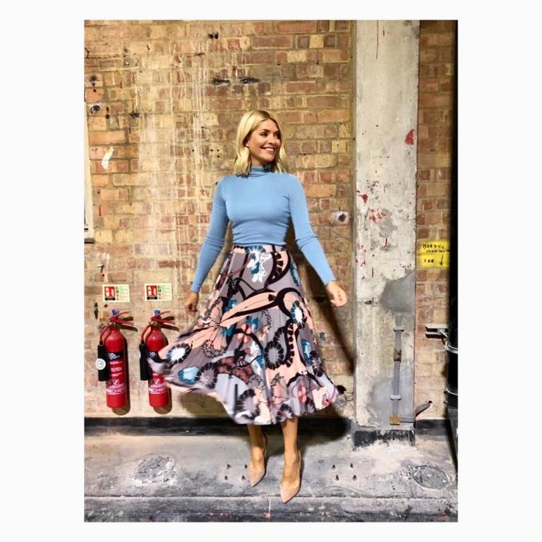 where to get holly willoughby this morning outfit blog blue polo neck graphic pleated skirt nude shoes january 2019 photo holly willoughby
