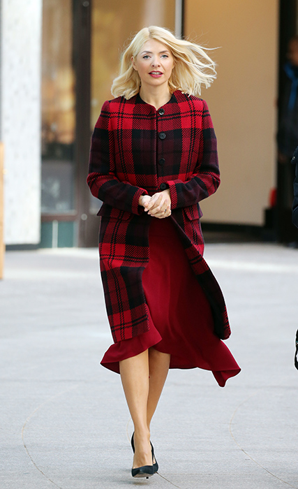 where to get Holly Willoughby This Morning outfit red and black check coat January 2019