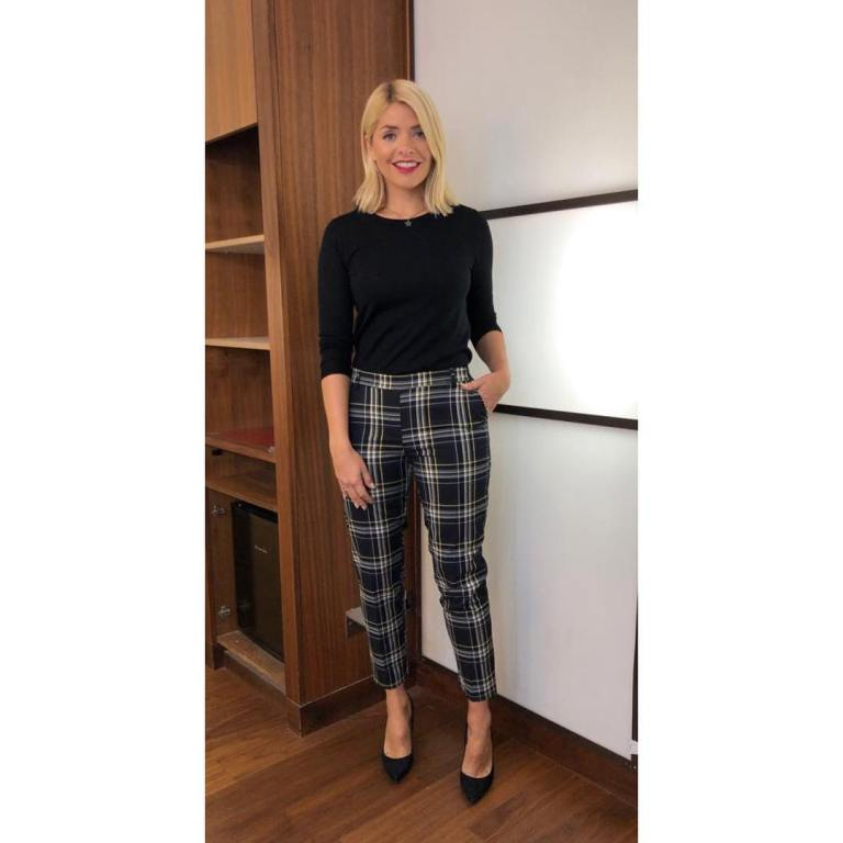 where to get holly willoughby this morning outfit today black check trousers black jumper black court shoes january 2019 photo holly willoughby