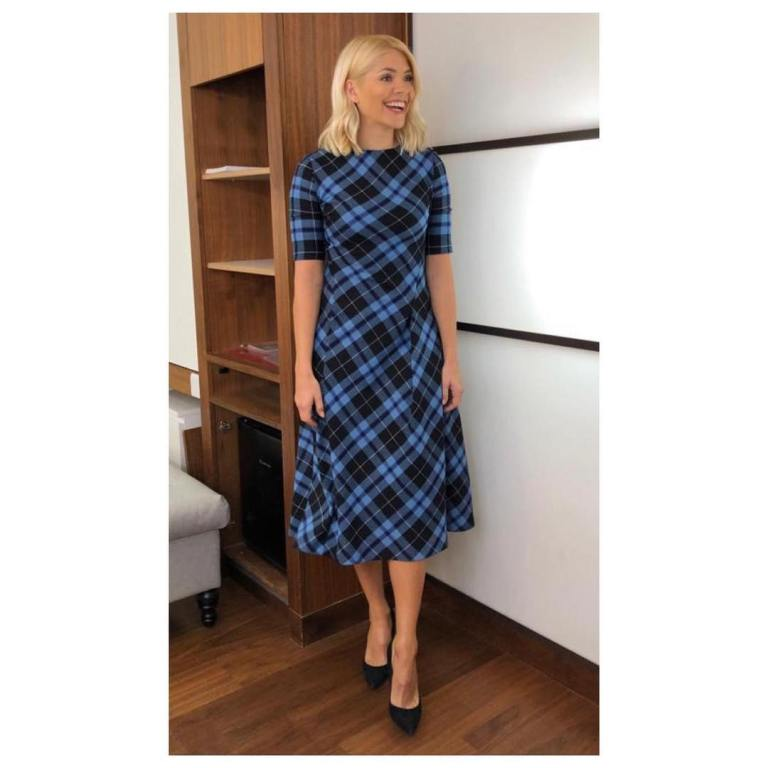 where to get holly willoughby this morning outfit today blue check dress black court shoes januaray 2019 photo holly willoughby