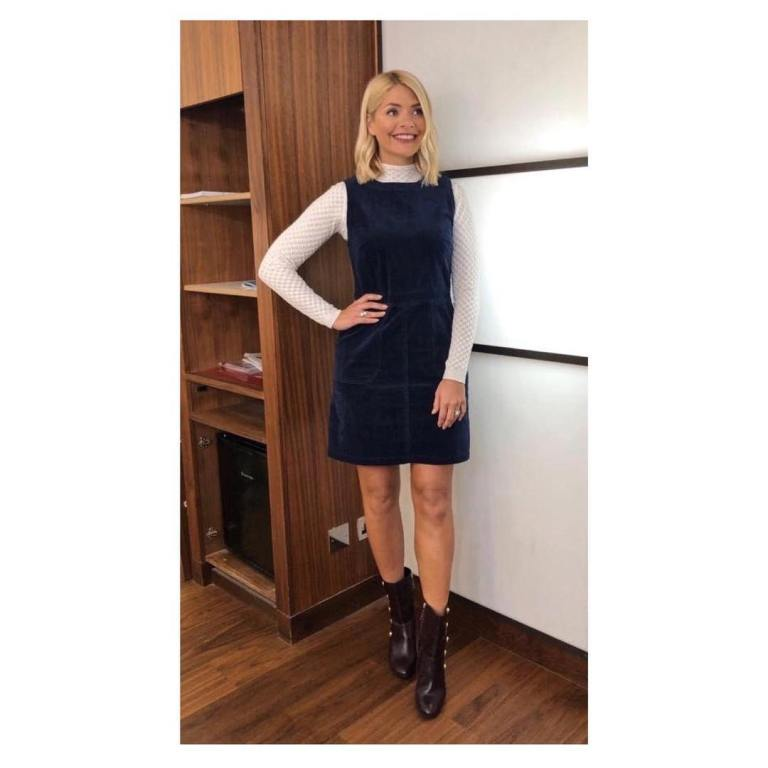 where to get holly willoughby this morning outfit today blue cordury dress cream patterned knitwear black boots january 2019 photo holly willoughby