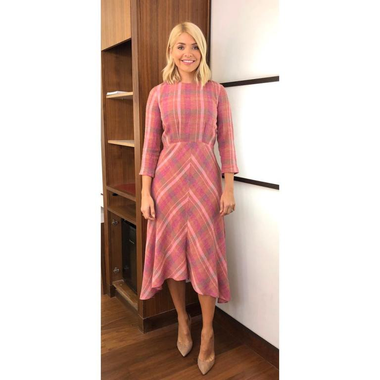 where to get holly willoughby this morning outfit today pink check midi dress nude court shoes january 2019 photo holly willoughby