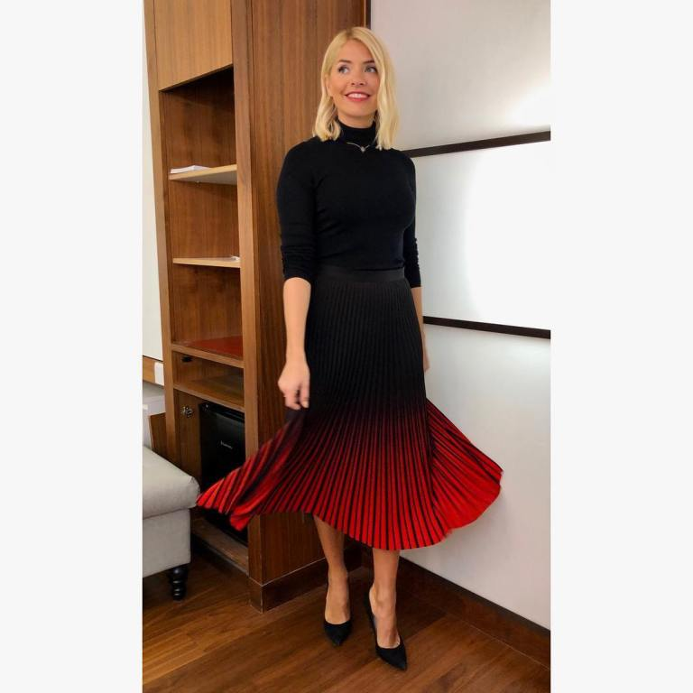 where to get holly willoughby this morning outfit today red and black skirt black polo neck black court shoes january 219 photo holly willoughby