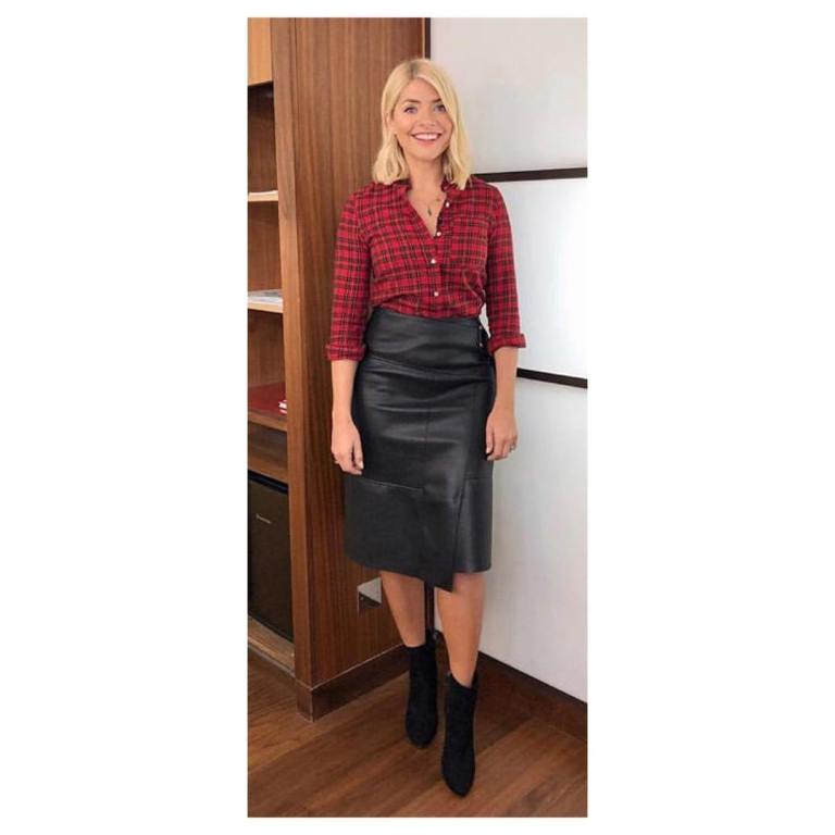 where to get holly willoughby this morning outfit today red check shirt black faux leather skirt black boots january 2019 photo angie smith