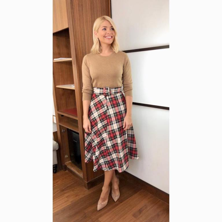 where to get holly willoughby this morning outfit today red and white check midi skirt light brown knit nude court shoes january 2019 photo holly willoughby