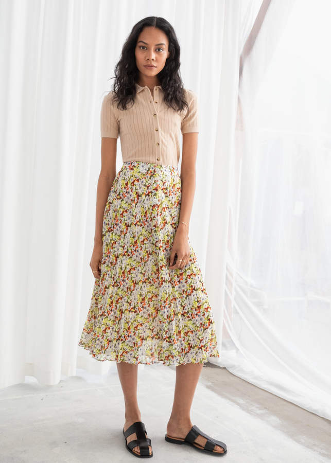 And other stories Floral Pleated Midi Skirt