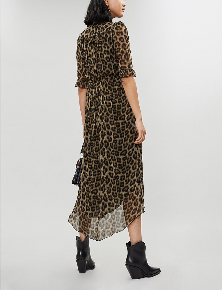BA&SH Fifi leopard-print crepe midi dress back view