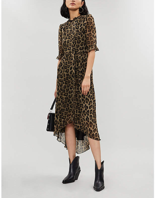 BA&SH Fifi leopard-print crepe midi dress