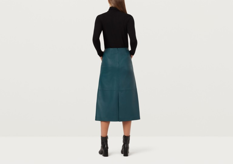 Finery London Hector Bottle Green Leather A-Line Skirt back view