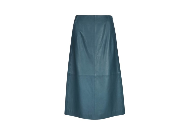 Finery London Hector Bottle Green Leather A-Line Skirt