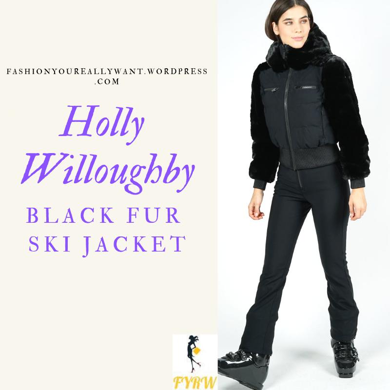 Where to get Holly Willoughby black fur ski jacket round sunglasses rainbow chevron blue ski suit February 2019