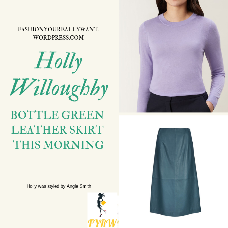 Where to get Holly Willoughby This Morning outfit bottle green leather skirt lilac jumper nude court shoes today blog February 2019