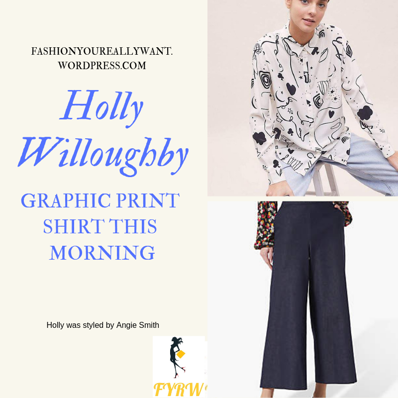 Where to get Holly Willoughby This Morning outfit today graphic print ivory shirt blue denim wide leg trousers blog February 2019