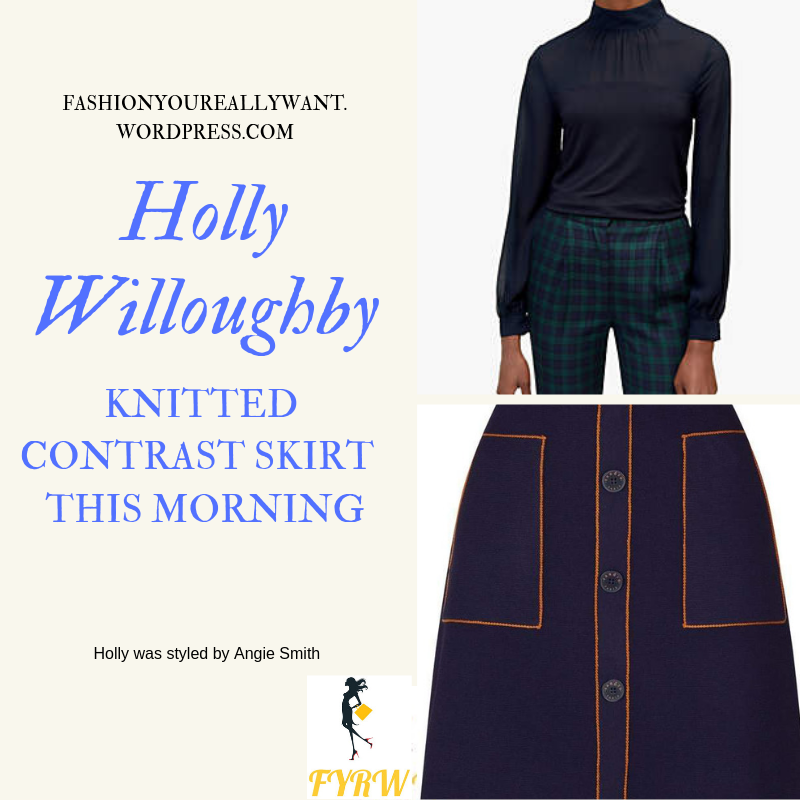 Where to get Holly Willoughby This Morning outfit today Knitted Contrast Skirt navy jumper white ankle boots blog February 2019
