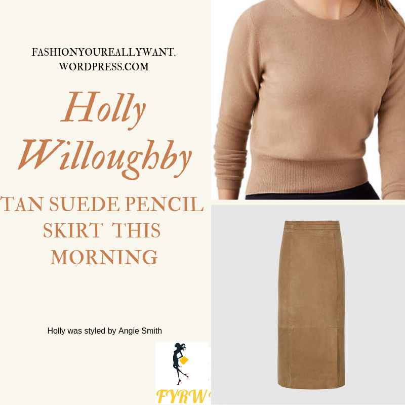 Where to get holly Willoughby This Morning outfit today tan suede pencil skirt brown camel jumper wine court shoes blog February 2019