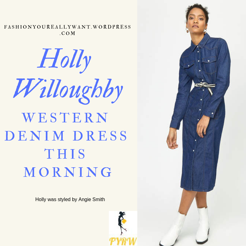 Where to get Holly Willoughby This Morning outfit today Western midi denim dress nude court shoes blog February 2019