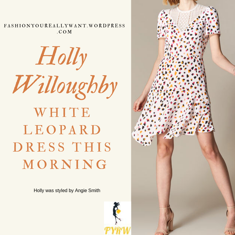 Where to get Holly Willoughby This Morning outfit today white leopard print lace insert dress pink court shoes blog February 2019