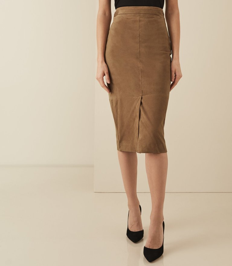 Reiss Ava - Suede Pencil Skirt in Tan v2