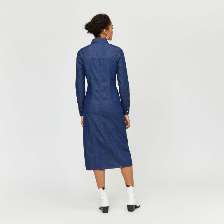 Warehouse Western Midi Denim Dress back view
