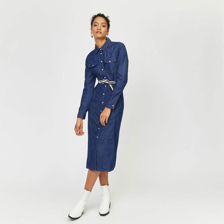 Warehouse Western Midi Denim Dress