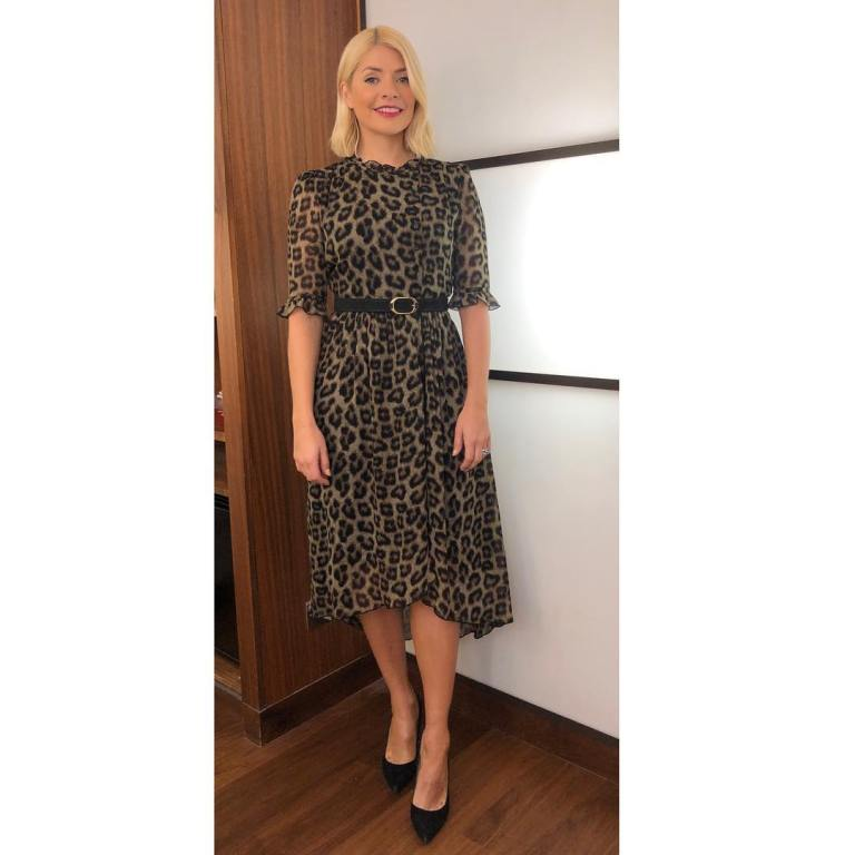 where to get holly Willoughby This Morning outfit leopard print dress black court shoes February 2019 photo Holly Willoughby