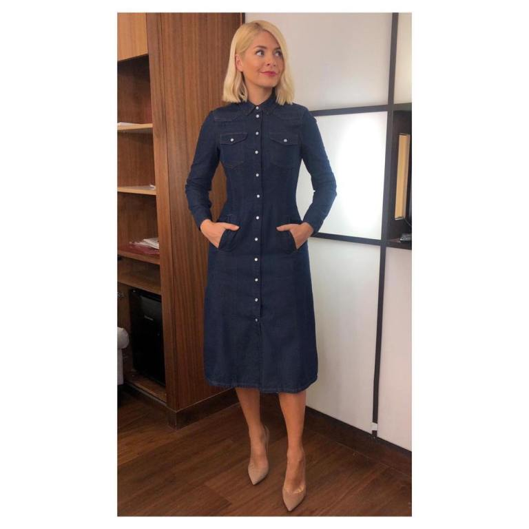 where to get holly Willoughby This morning outfit today blue denim Western dress nude court shoes February 2019 photo Holly Willoughby