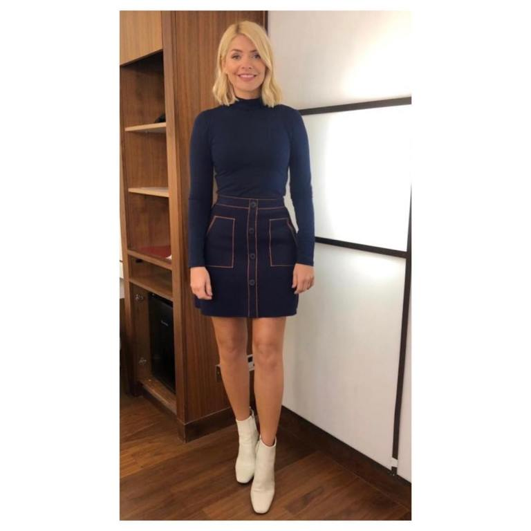 where to get Holly willoughby This Morning outfit today blue knitted denim look skirt blue polo neck white ankle boots February 2019 photo Holly willoughby