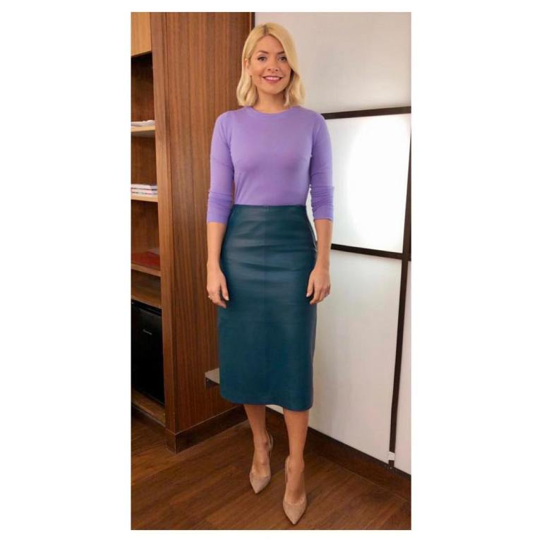 where to get Holly Willoughby This Morning outfit today bottle green leather skirt lilac jumper nude court shoes February 2019 photo Holly Willoughby