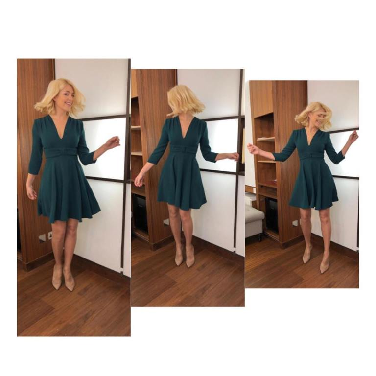 where to get Holly Willoughby This Morning outfit today green v neck skater dress nude court shoes February 2019 photo Holly Willoughby