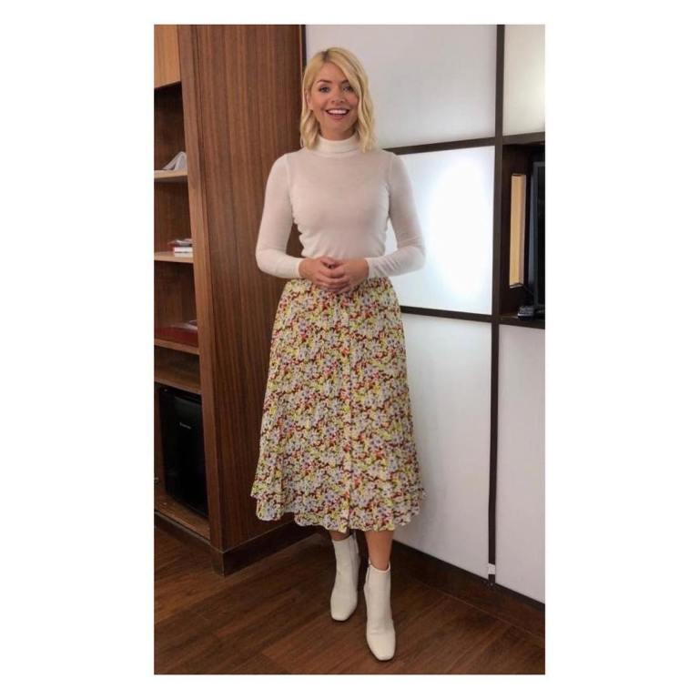 where to get Holly Willoughby This Morning outfit today pleated floral skirtnivory jumper white ankle boots February 21019 photo Holly Willoughby