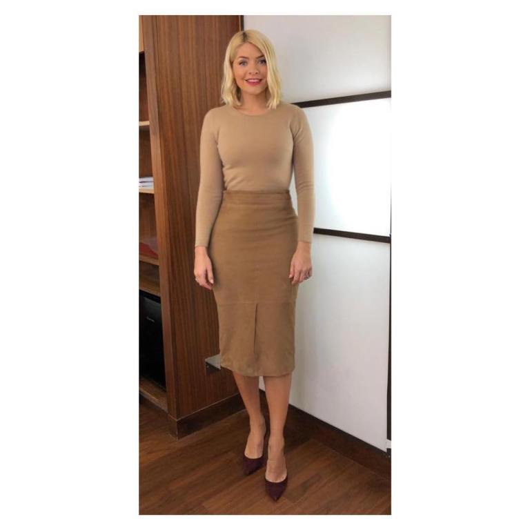 where to get Holly Willoughby This Morning outfit today tan suede pencil skirt brown jumper wine court shoes February 2019 photo holly Willoughby