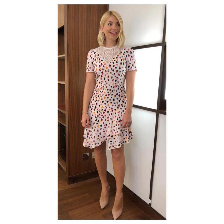 where to get Holly Willoughby This Morning outfit today wite lace leopard print dress nude court shoes February 2019 photo Holly Willoughby