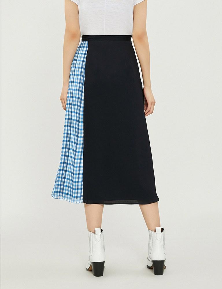 Claudie Pierlot Sweden patchwork-print georgette skirt back view