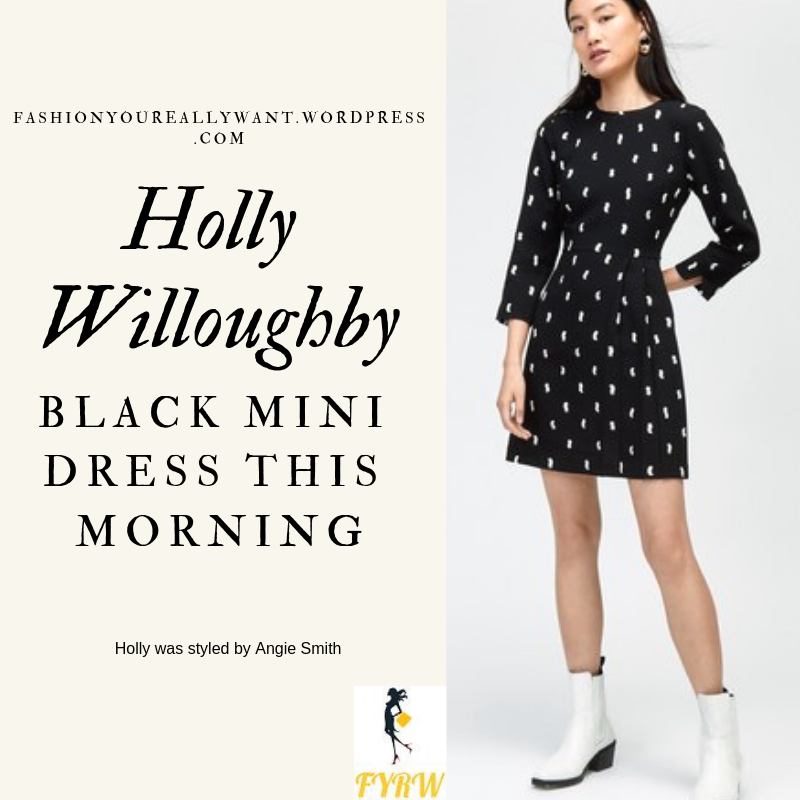Where to get Holly Willoughby This Morning outfit Black Pleat mini dress white ankle boots blog March 2019