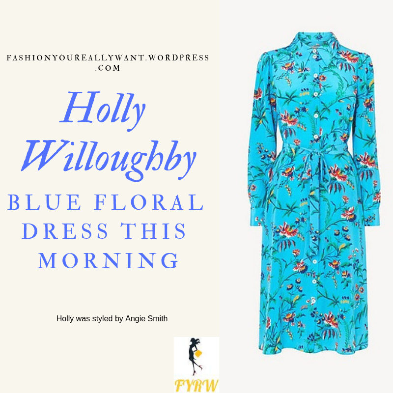 Where to get Holly Willoughby This Morning outfit today blue floral dress nude court shoes blog March 2019
