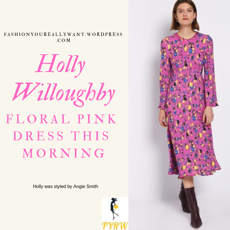 Where to get Holly Willoughby This Morning outfit today pink floral trumpet sleeve dress nude court shoes blog March 2019