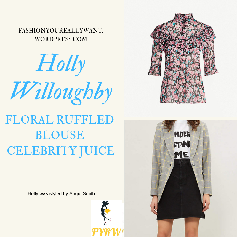 Where to get Holly WilloughbyFloral Ruffled Blouse black mini skirt Celebrity Juice outfit March 2019