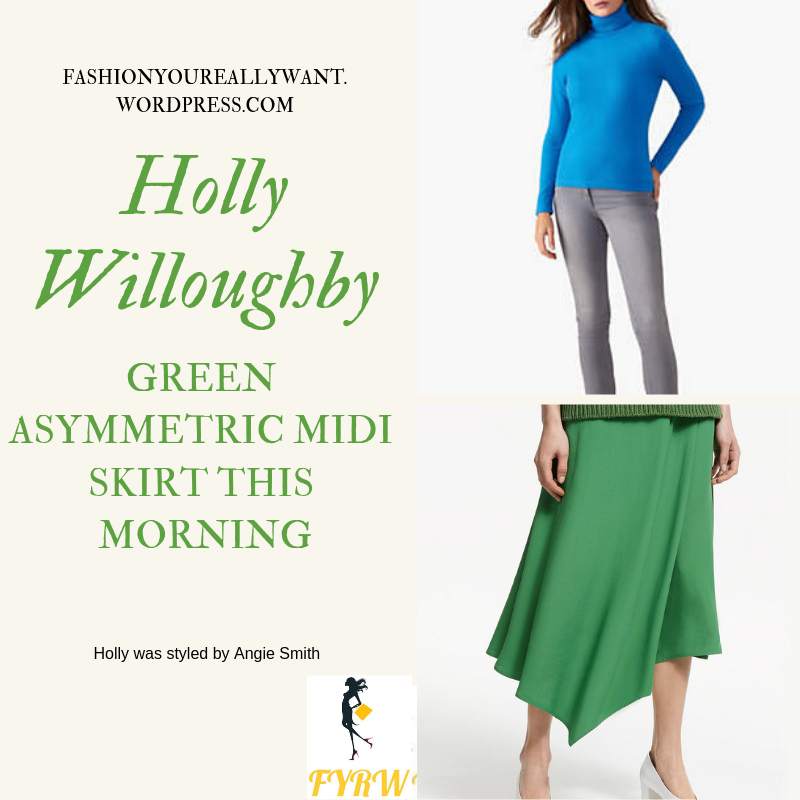 Where to get Holly Willoughby This Morning outfit today green fold asymmetric midi skirt bright blue polo neck white court shoes blog March 2019