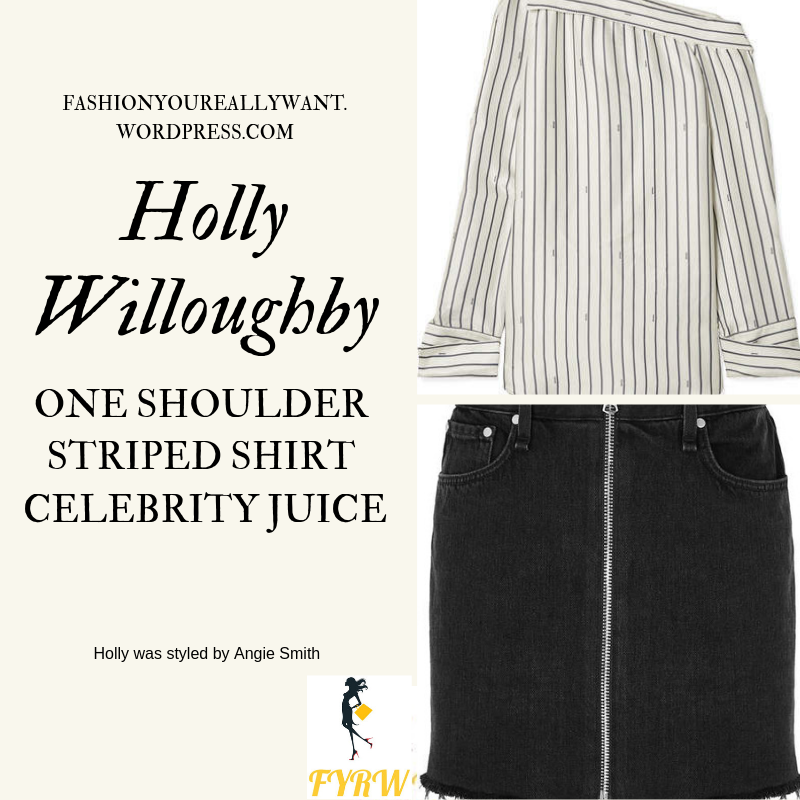 Where to get Holly Willoughby One Shoulder Striped Shirt black zip denim skirt black ankle boots Celebrity Juice March 2019